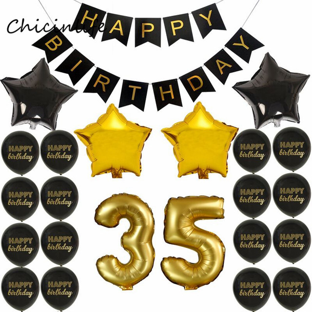 Chicinlife Gold Black Color Theme Adult 35 45 55 65 70 75 80 85 90 Years Old Birthday Party Decoration Happy Banner
