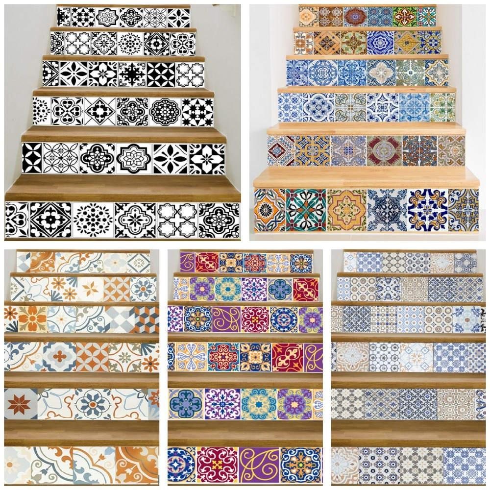 17 Design Mosaic Tile Wall Stair Stickers Self Adhesive Waterproof PVC Wall Sticker Kitchen Ceramic Stickers Home Decoration in Wall Stickers from Home Garden