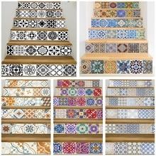 17 tasarım mozaik karo duvar merdiven çıkartmalar kendinden yapışkanlı su geçirmez PVC duvar Sticker mutfak seramiği çıkartmaları ev dekorasyon