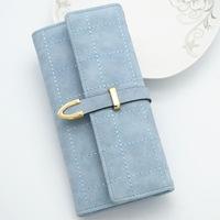 2018 New Korean Style Fashion Long Women   Wallets   Slim Leather Purse Elegant Ladies Evening Clutch Bag Dollar Walet Portefeuille