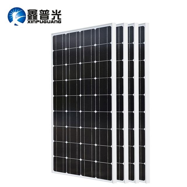 XINPUGUANG 2PCS 3PCS 4PCS Solar panel 100W 18V Glass solar Panels 200W 300W 400W panneau flexible bsolaire Monocrystalline board 1