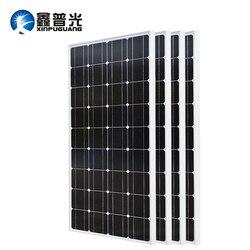 XINPUGUANG 2 قطعة 3 قطعة 4 قطعة لوحة طاقة شمسية 100W 18V الزجاج لوحة طاقة شمسية s 200W 300W 400W panneau solaire أحادية الشمسية مجلس 12V