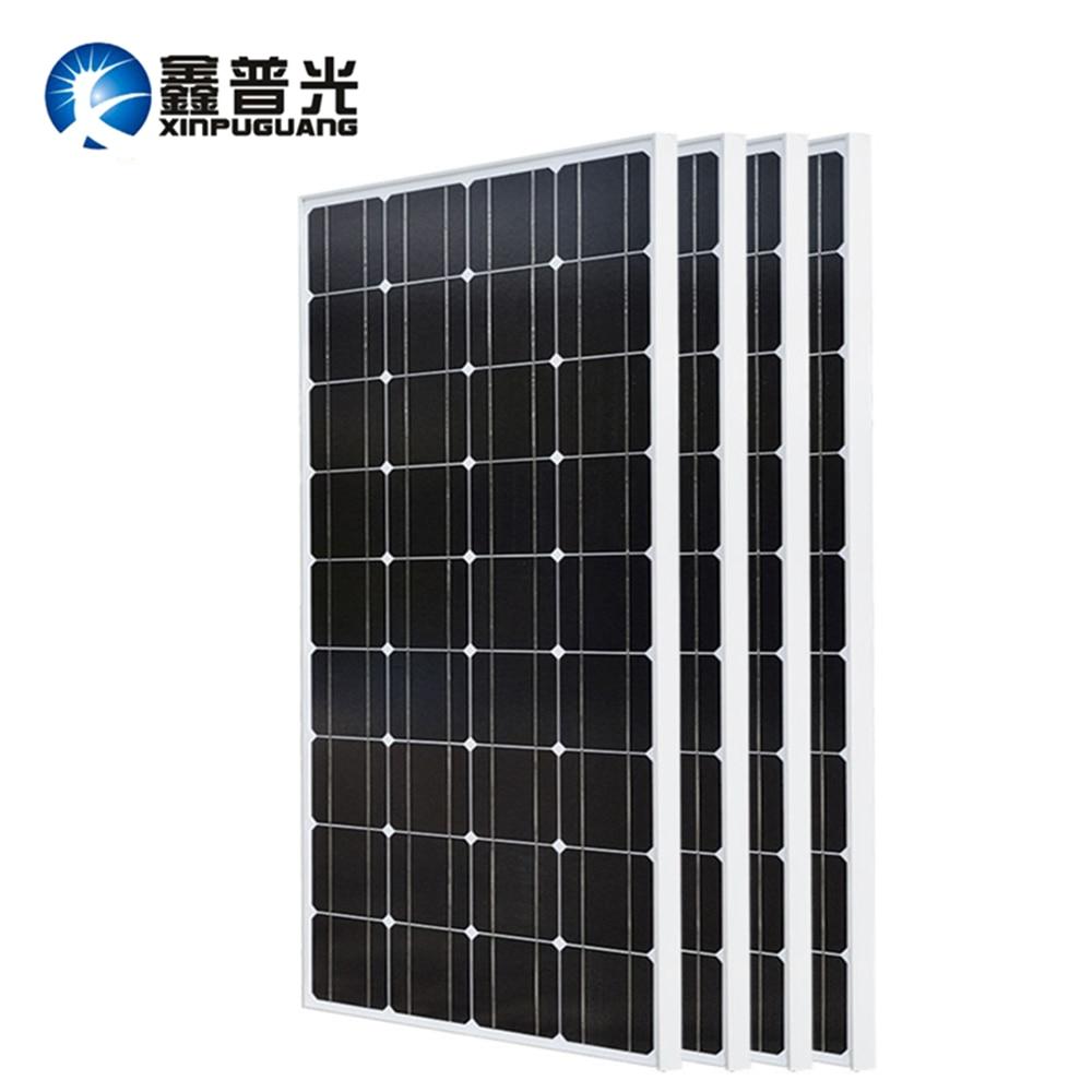 Xinpuguang 2 pces 3 pces 4 pces painel solar 100 w 18 v painéis solares de vidro 200 w 300 400 painel solar monocristalino panneau solaire 12 v