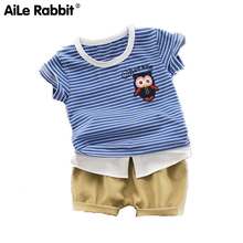 New Childrens Clothes, Stripe Short-sleeved Owl Cotton Odell Suit One Generation