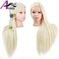 65 cm rubia 100% de fibra sintética resistente al calor del pelo femenino maniquíes cabeza de formación con el pelo largo