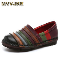 MVVJKE Chinese Style High Quality Handmade Handmade 2018 Vintage Genuine Leather Shoes Women Flat Slip On