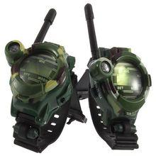 1 Pair Toy Walkie Talkies Watches Walkie Talkie 7 in 1 Children Watch Radio Outdoor Interphone Toy Gift For Chirlden 2 Pcs New h