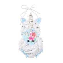 Baby Girls' Unicorn Printed Romper