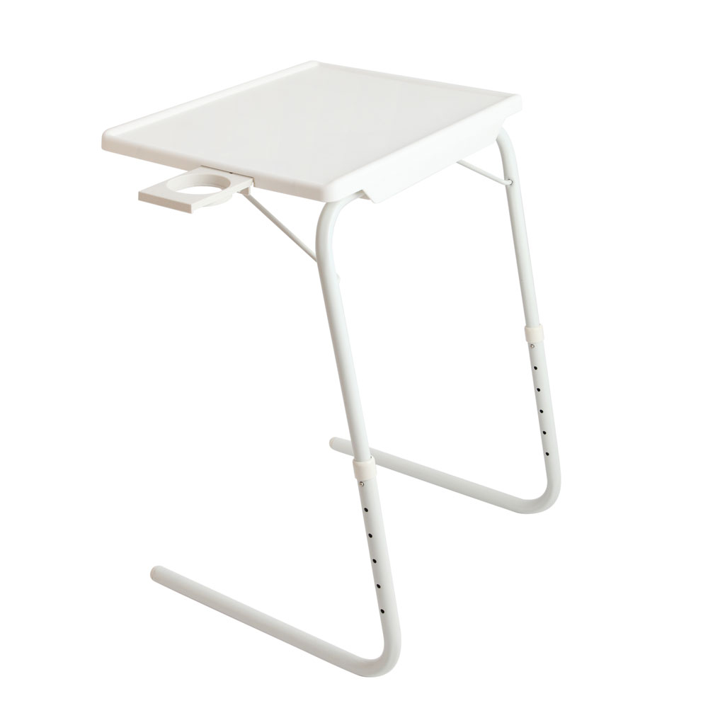 White Foldable Study Table - Adjustable Tray Laptop Desk