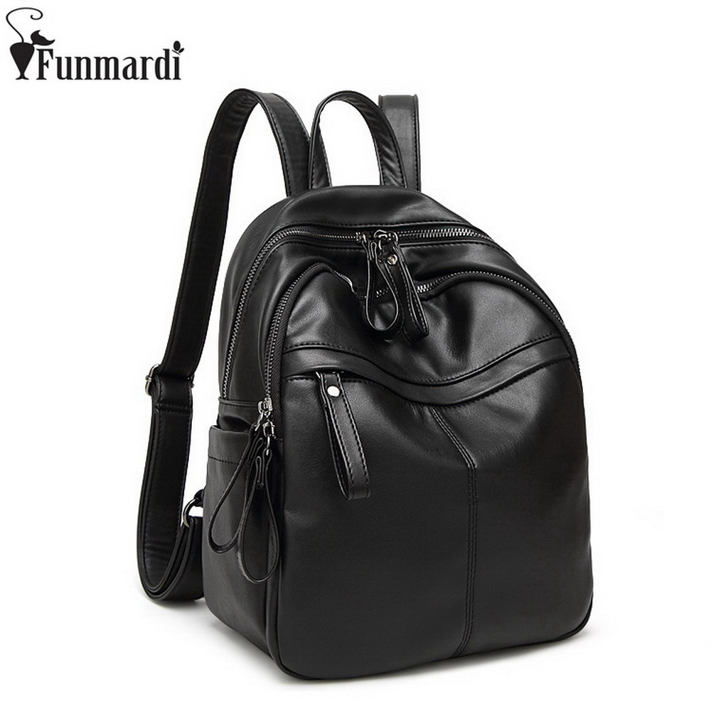 FUNMARDI Fashion Simple Black Schoolbags Luxury Designer Women Bags Casual Leather Shoulder Bags Preppy Style Backpacks