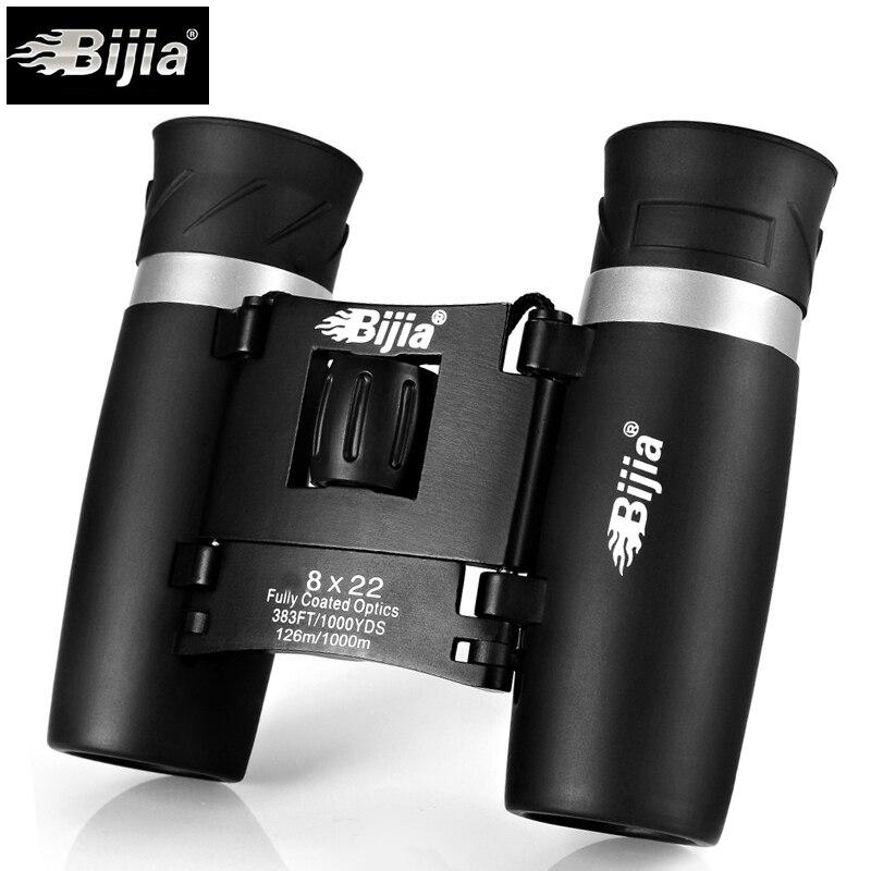 BIJIA 8x22 Hohe Qualität HD Leichte teleskop Outdoor Tragbare Fernglas jumelles Falten Kompakt Fernglas Für Die Jagd