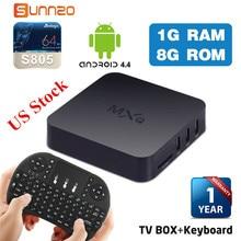 Set-top Box MXQ 4K TV BOX Amlogic S805 Quad Core 1+8GB Unlocked Android Fully Loaded Kodi Streaming Media Player + USB Keyboard