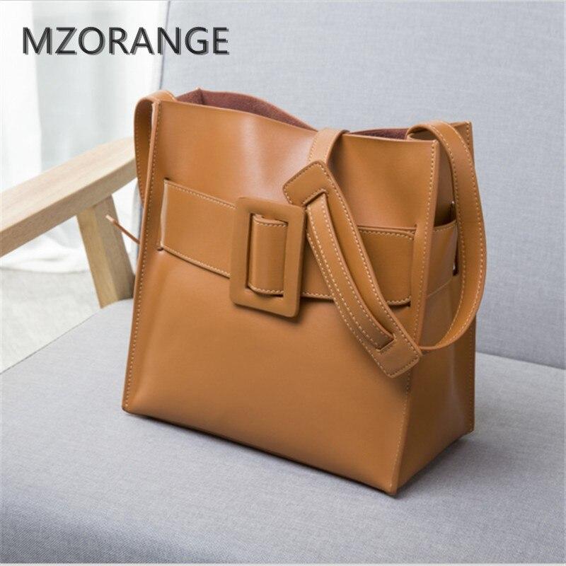 MZORANGE 2017 new genuine leather Square Buckle Women Handbag shoulder bag brand Design lady Tote Vintage Fashion Motorcycle bag