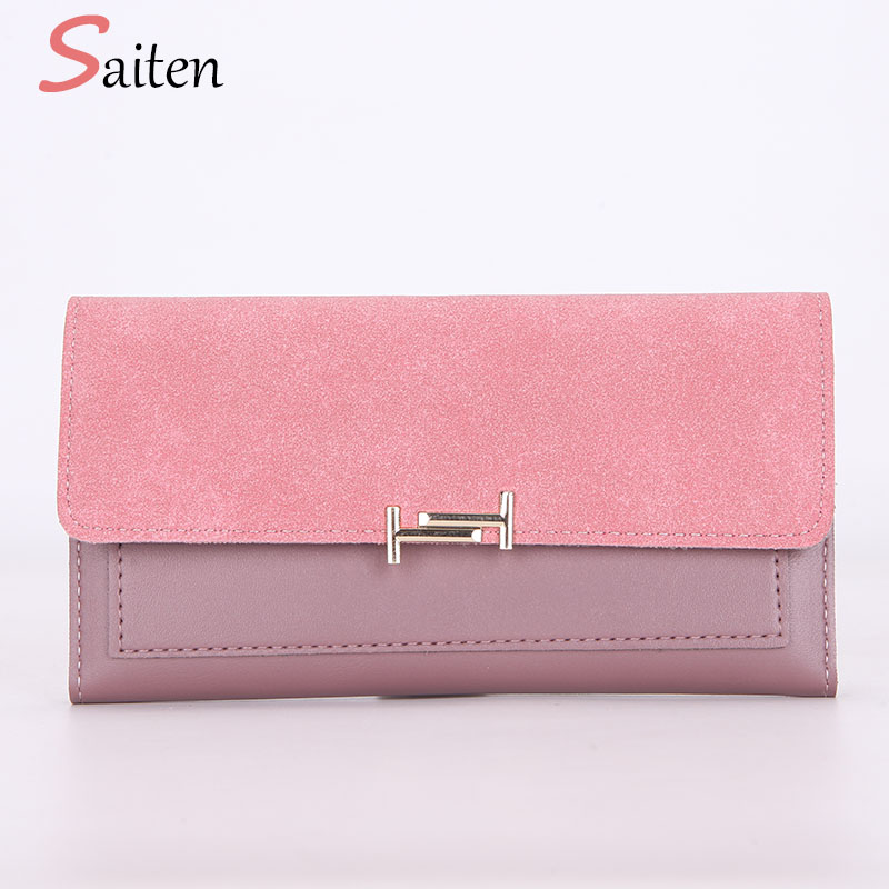 2018 Fashion Nubuck Leather Wallets Women Purse Patchwork Hasp Female Wallet Long Candy Color Ladies Clutch 3 Fold Card Holders korean brand design pu leather solid hasp envelope day evening clutch wallets 16 card bags long wallet for women ladies purse