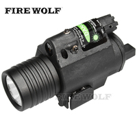 FIRE WOLF 2in1 Combo Tactical CREE Q5 LED Flashlight LIGHT 200LM Green Laser Sight For Pistol