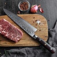 HEZHEN 8.5'' Chef Knife Japanese Damascus Steel Professional Kitchen Knives Super Sharp VG10 Butcher's Knife Dalbergia Handle