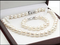 Jewellery hot!HUGE NATURAL AAA 10 11MM SOUTH SEA WHITE PEARL NECKLACE + BRACELET