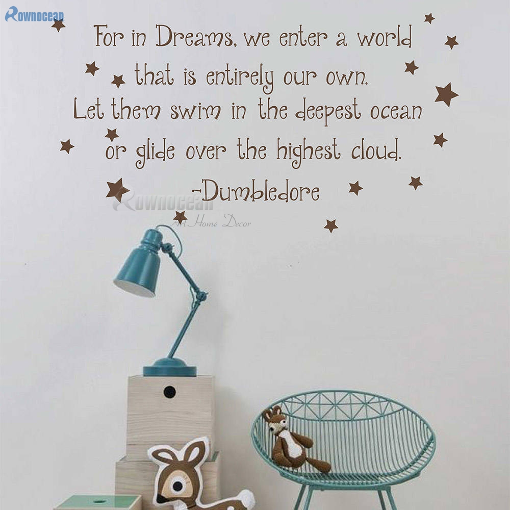 Albus Dumbledore Quote Decal For In Dreams We Enter A World Harry