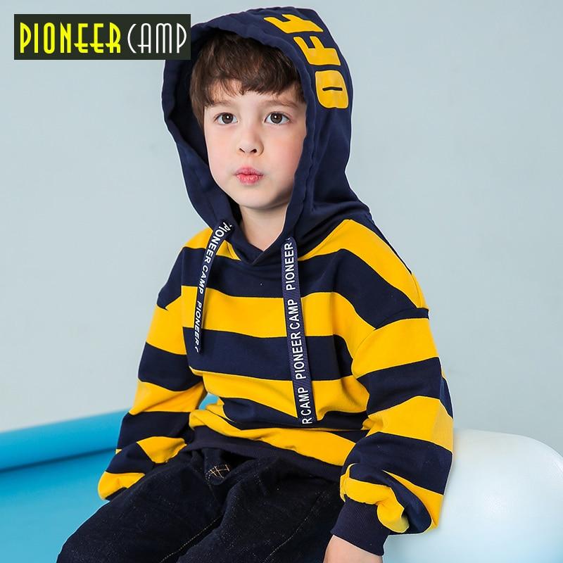 Pioneer camp novas crianças listrado grosso t-shirt para meninos crianças roupa com capuz quente meninos tshirt qualidade camisola criança BWY810033