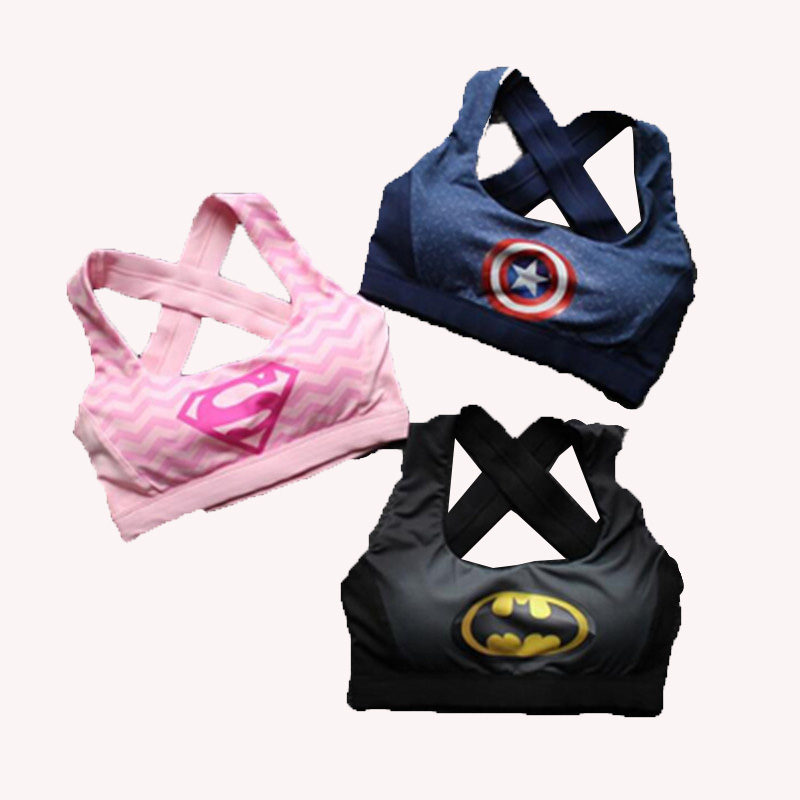 Female Fitness  Print Batman New Captain America Superhero Crop Top Tank Tops Yoga Bra Sports Bra Padded Sleeveless Sport Bra