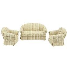 цена на 1/12 scale Dollhouse miniature furniture High-quality Elegant Fabric Sofa and chair set