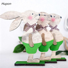 Creative Easter Rabbit Wood Ornaments Eggs Ribbon Stand Decoration Decorations for Home Table Party Supplies 2019