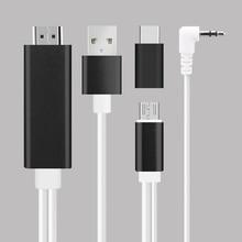 2 em 1 Micro USB para HDMI Cabo USB C a Cabo MHL para Cabo HDMI com Áudio para Samsung telefones Xiaomi HDTV Adaptador AV Digital