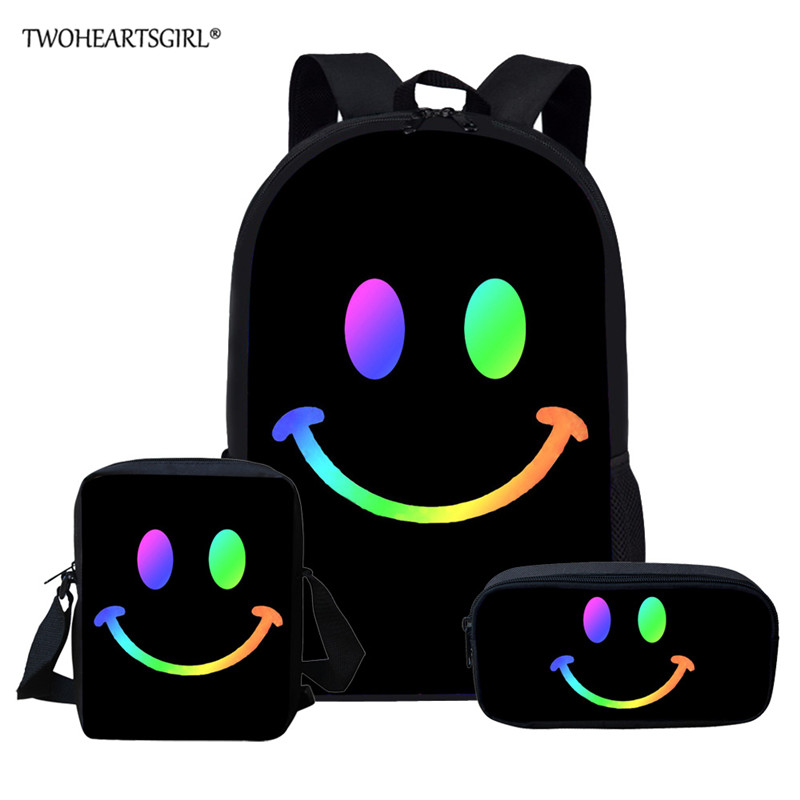 Twoheartsgirl Smiley Face Custom Bag School Bags For Boys Girls Student Children School Backpack Satchel Kids Book Bag Mochila