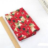 クリスマス綿生地クリスマス赤い葉装飾生地メーター用縫製布、ティッシュ、diyバッグ