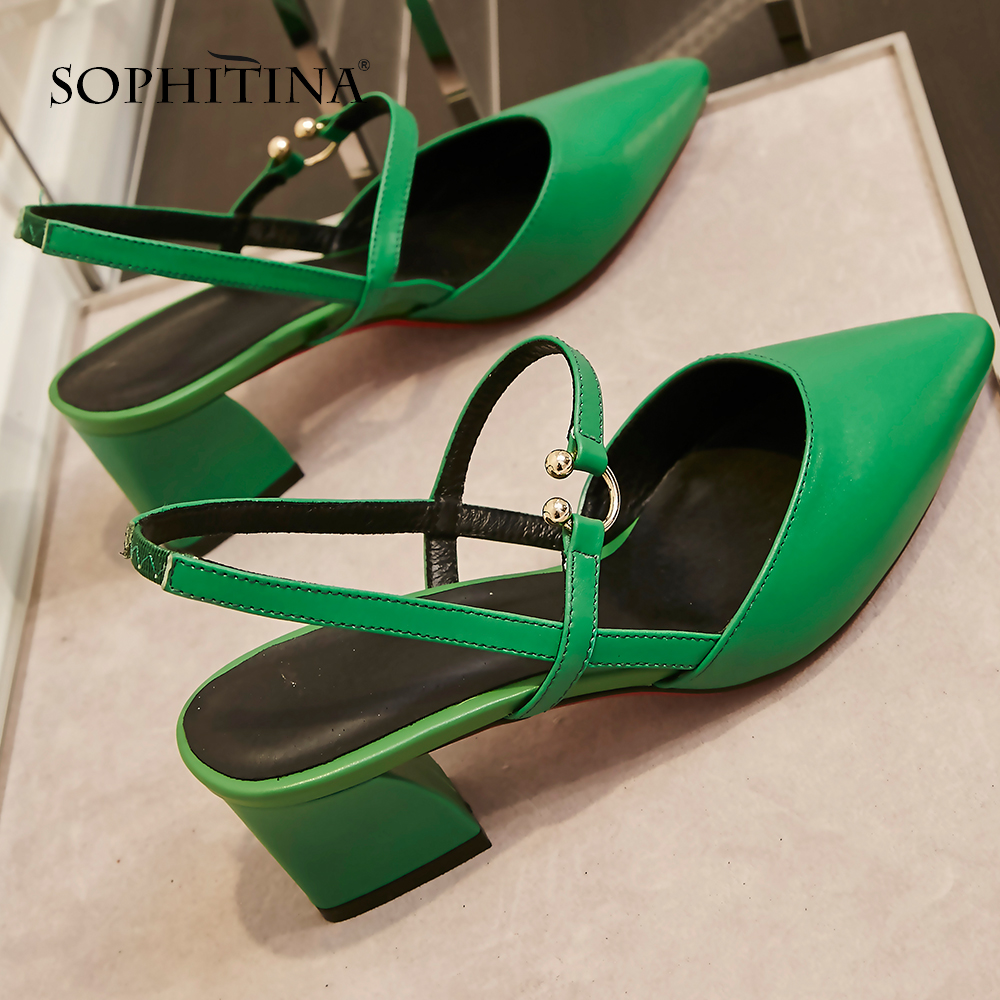 SOPHITINA 2019 New Style Sandals Slingback Spring Solid Fashion Shallow Women s Shoes Genuine Leather Basic