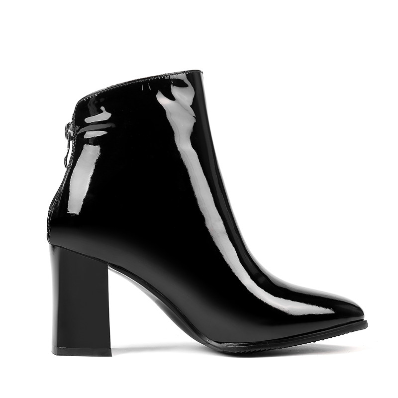 Ryvba Dames Véritable Chaud En Bottes 2019 Femme Noir Hiver blanc Chaussures Pointu Brevet Bout Noires Hauts Talons Sexy Femmes Bottines Cuir ZxrEzwxqI