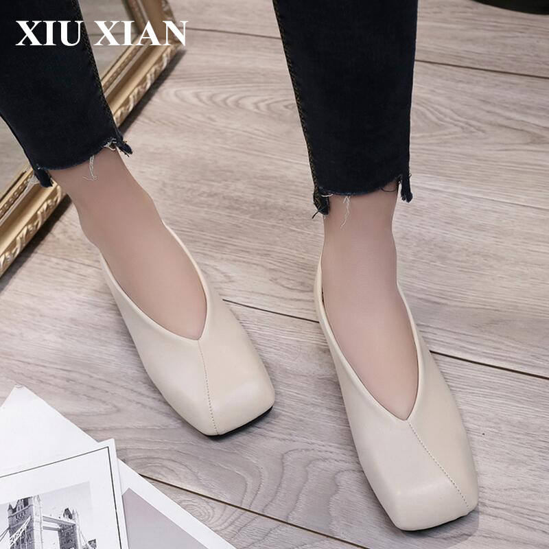 2017 Spring Summer Square Toe Women Ankle Flats Retro Soft Leather Flats Shoes Female V Shape Slip-on Black Summer Flat Low Heel spring summer women leather flat shoes 2017 sweet bowtie flats women shoes pointed toe slip on ladies shoes low heel shoes pink