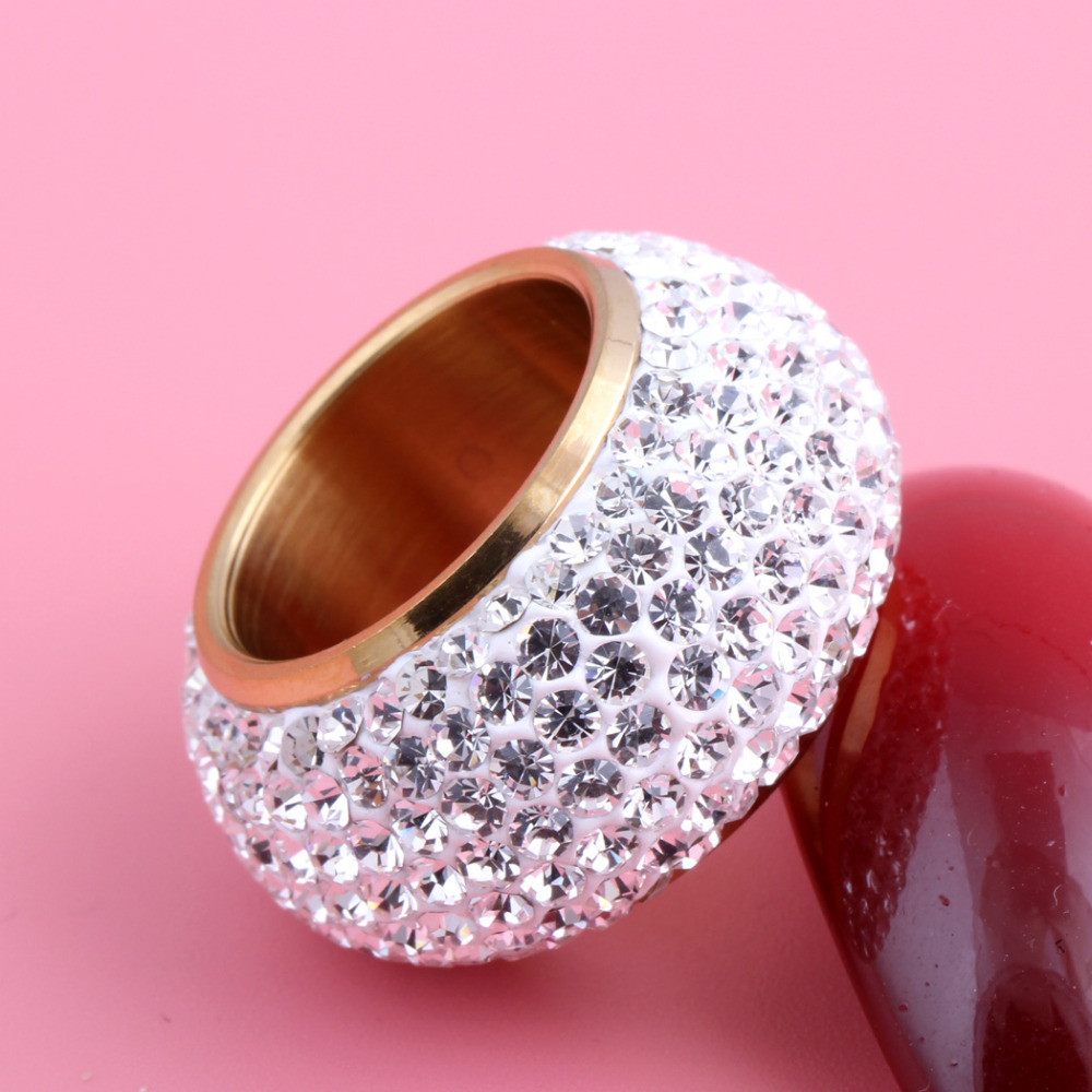 Wholesale shining full rhinestone finger rings for woman luxurious paragraph Crystal Jewelry Ring gold-color 6