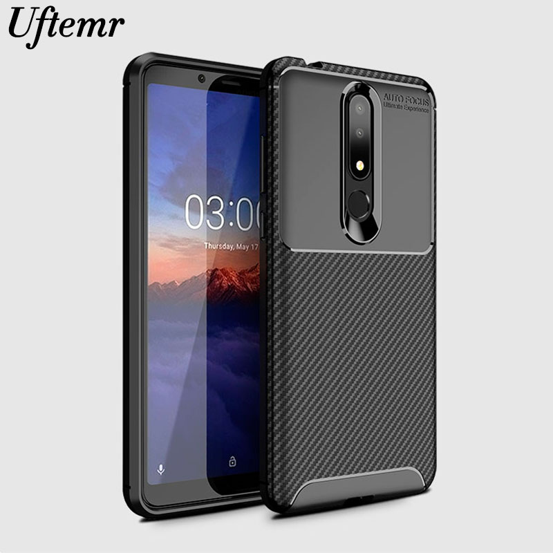 Phone Case For Nokia 3.1 Plus Cover Carbon Fiber Shockproof Soft Tpu Silicone Back Cover For Nokia 3.1 Plus TA-1118 TA-1104 Case