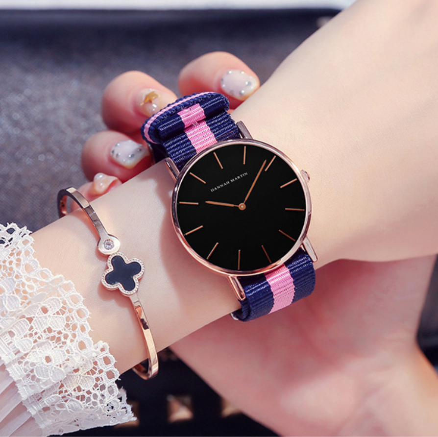 Pink Nylon Womens Watch Fashion Comfortable Waterproof Ladies Quartz Watches Luxury Rose Gold Leather Clock Gift For Girl
