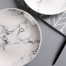 4 pcs set 6 or 8 or 10 inch Marble dinner plates ceramic tableware dinner set marble dinnerware