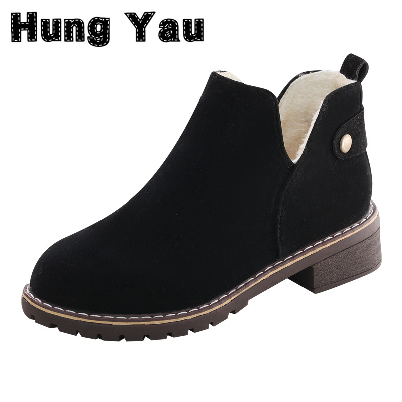 Hung Yau Women Warm Thick Snow Ankle Boots Cotton Boots Fashion Flats Shoes Casual Flat Shoes New 2017 Winter Black Plus Size 9 new 2017 hats for women mix color cotton unisex men winter women fashion hip hop knitted warm hat female beanies cap6a03