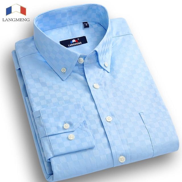 Langmeng 2016 мужчин случайные рубашки тонкий мужской бренд весна осень платье рубашка сплошной цвет с длинным рукавом camisa masculina сорочка homme