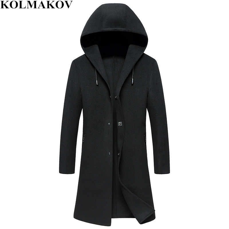 2018 New Mens Winter Thick Woolen Hooded Coats Homme Double-faced Wool Black Jackets Male Slim Fit Mens Long Windbreakers M-3XL