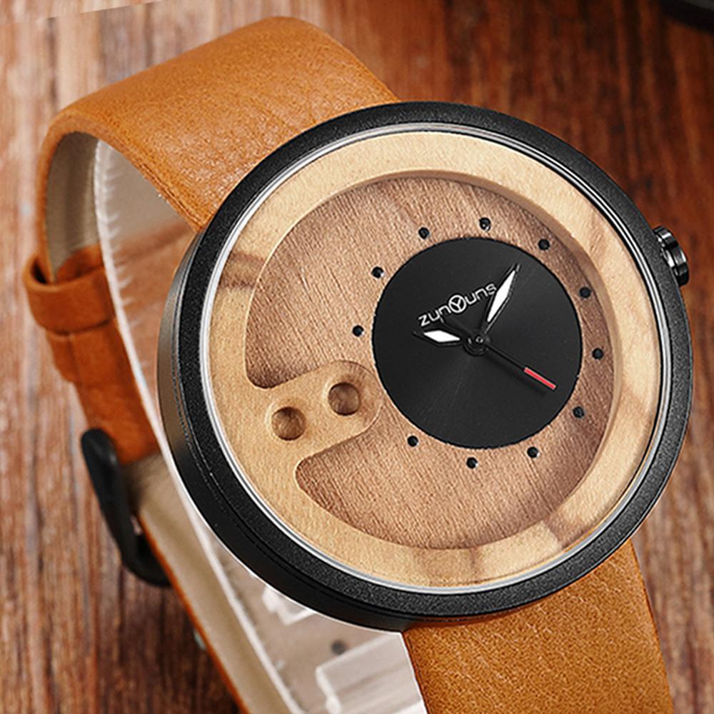 Reloj de bambú para hombre, reloj de pulsera de madera de nogal Original para hombre, correa de cuero liso, relojes Vintage de madera, reloj