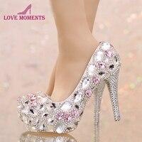반짝 화려한 실버 크리스탈 웨딩 신발 핑크 다이아몬드 사용자 정의 신부 드레스 신발 여성 신혼여행 파티 댄스 파티 하이