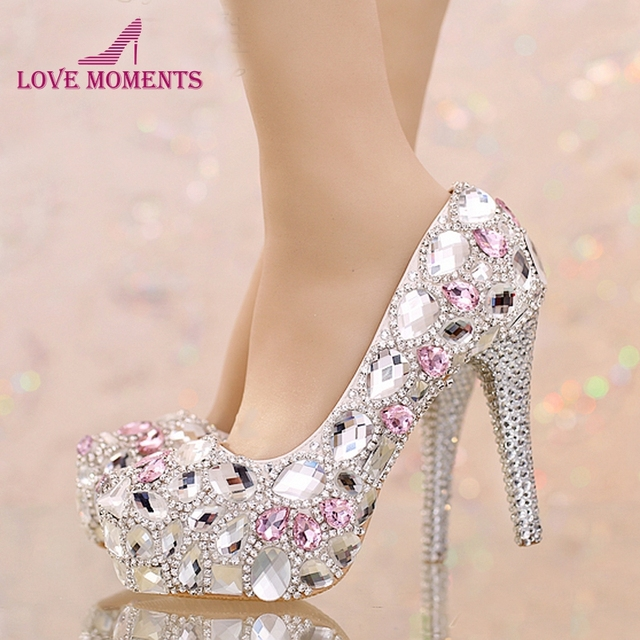 Sparkling Gorgeous Silver Crystal Wedding Shoes with Pink Diamond Customized  Bridal Dress Shoes Women Honeymoon Party Prom Heels 176052fcb02d