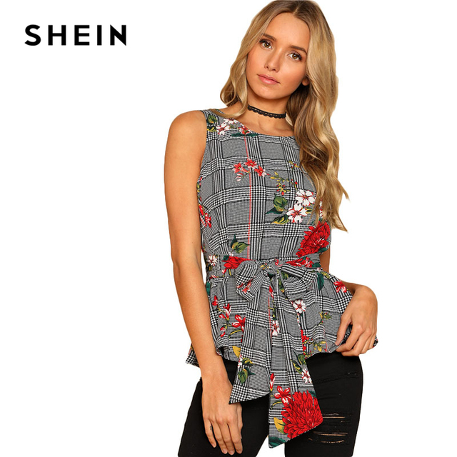 SHEIN Self Belted Floral And Plaid Shell Top Women Fashion Round Neck Sleeveless Casual Blouse 2018 Summer Vacation Blouse 5