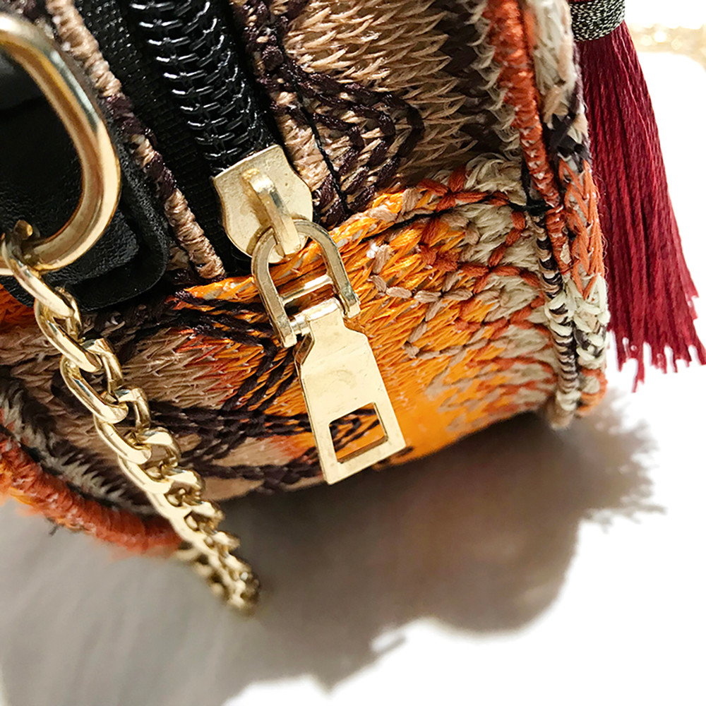 Women Tassel Chain Small Bags national wind round bag packet Lady Fashion Round Shoulder Bag Bolsos Mujer#A02 110