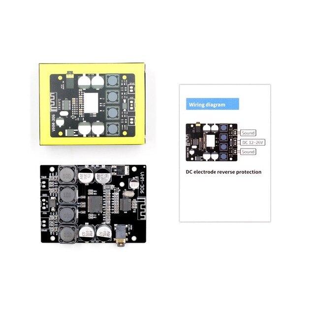 Tpa3118 2x30 w 8-26 v dc áudio estéreo bluetooth 5.0 placa de amplificador de potência digital para amplificadores