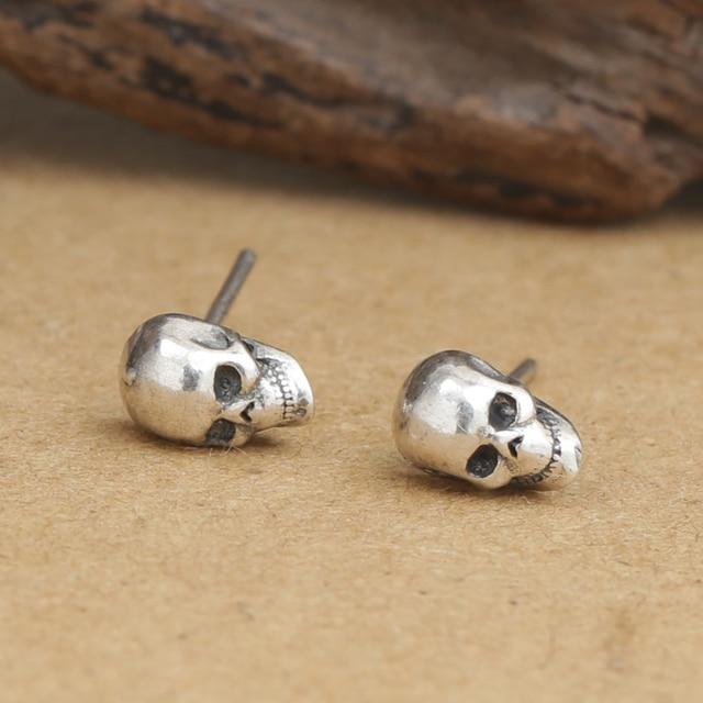 81cee3afb Handmade Thai Silver Skull Earrings Vintage 925 Silver Skull Earring  Sterling Silver Man Earring