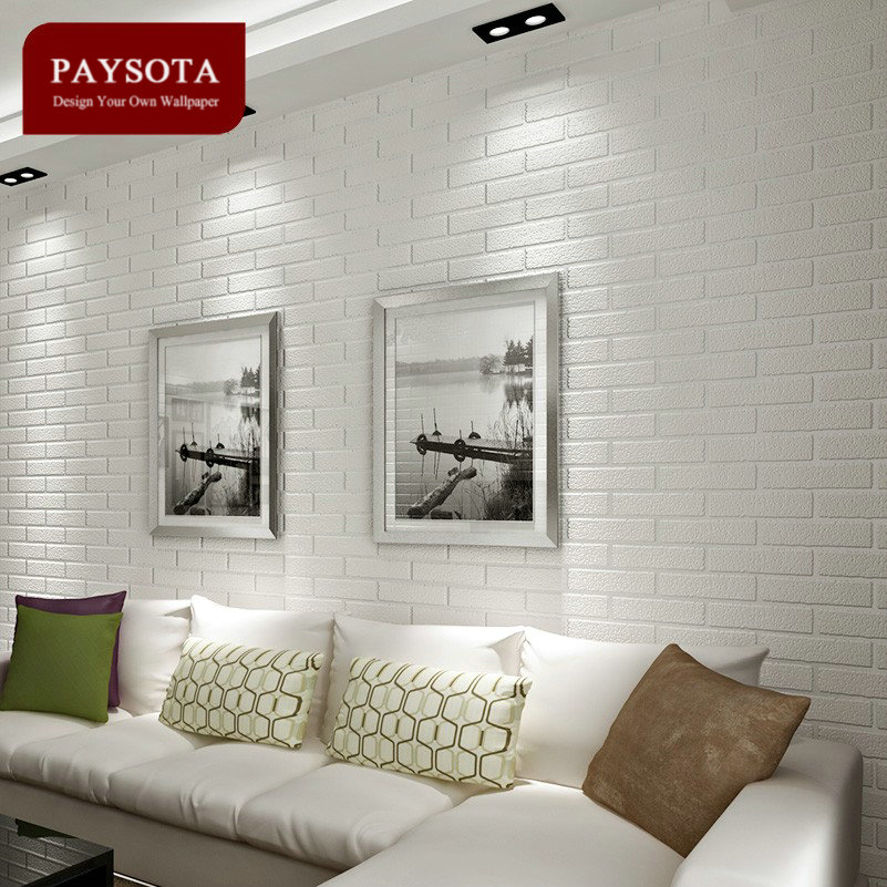 Купить с кэшбэком PAYSOTA Non-woven White Brick Grain Wallpaper Bedroom Living Room TV Setting Sofa Background Wall Paper Home Decoration