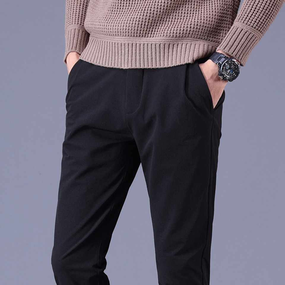 男性パンツスリム綿 90% 春秋冬固体パープルグレーブラックグリーン男性若い全身ロングチノ男鉛筆ズボン