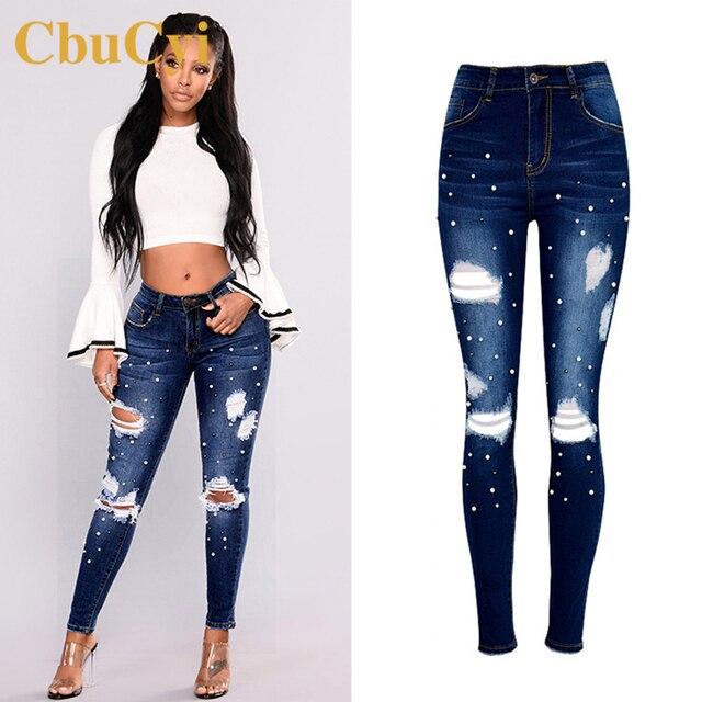 a523ec908f CbuCyi mujeres Denim de ropa pantalones de cintura alta