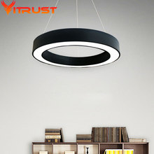 Fashion iron pendant lamp circle metal lighting morden LED light hang for living room bedroom three size